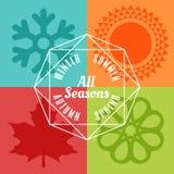 Ikonen-Symbolvektor mit vier Jahreszeiten Stockfotos