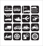 Ikonen transportieren und Technologie Lizenzfreies Stockfoto