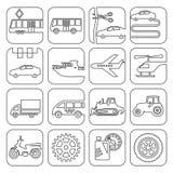 Ikonen transportieren und Technologiekontur Lizenzfreie Stockfotografie