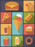 Ikonen-Vektorillustration der ungesunden Fertigkost flache stock abbildung