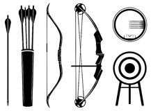 Ikonen-Vektorillustration des Bogens gesetzte Bogen, Pfeil, Anblick, Beben, Ziel, lizenzfreie abbildung