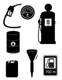 Ikonen-Vektorillustration des schwarzen Schattenbildbrennstoffs gesetzte Lizenzfreie Stockfotos