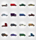 Ikonen-Vektorillustration des Transportes flache Lizenzfreie Stockfotografie