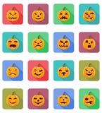 Ikonen-Vektorillustration Halloween-Kürbises flache Lizenzfreie Stockfotografie