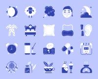 Ikonen-Vektorsatz der Schlaflosigkeit einfache Farbflacher stock abbildung
