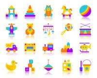 Ikonen-Vektorsatz des Babyspielzeugs einfacher flacher Farb stock abbildung