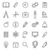 Ikonen-Vektorsatz des Bildungs- und Wissenschaftsentwurfs grauer modernes minimalistic Design Lizenzfreie Stockfotografie