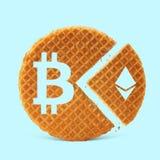 Ikonen von bitcoin und von etherium Lizenzfreie Stockfotografie