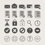 Ikonen von Dokumenten und von Post Stockbilder