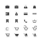 Ikonen von Einkaufseinzelteilen, Warenkörbe, Taschen Lizenzfreie Stockbilder