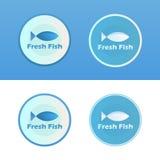 Ikonen von Fischen mit Titel Lizenzfreie Stockfotos