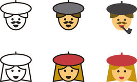 Ikonen von französischen Männern und von Frauen Lizenzfreies Stockbild