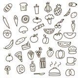 Ikonen von Früchten, von Gemüse und von Lebensmittel, die eine gezeichnete Hand in der Art kritzeln Auch im corel abgehobenen Bet Lizenzfreies Stockbild