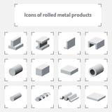 Ikonen von gerollten Metallprodukten stock abbildung