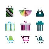 Ikonen von Geschenkboxen, Einkaufsikonen, Warenkörbe, Taschen Lizenzfreies Stockfoto