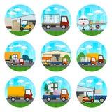 Ikonen von Lager-und Transport-Dienstleistungen vektor abbildung