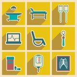 Ikonen von medizinischen themenorientierten Ikonen der Versammlung in der Ebene Stockbilder