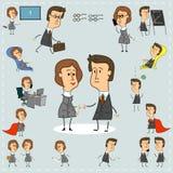 Ikonen von stilisierten Männern und von Frauen, die im Büro arbeiten, werden in einem Satz gesammelt stock abbildung