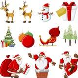 Ikonen von Weihnachtsmann auf Weihnachtszeit Lizenzfreies Stockbild