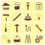 Ikonen von Werkzeugen für Reparatur des Hauses Stockfoto