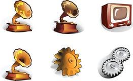 Ikonen: Zahntrieb, Grammophon, Fernsehapparat Lizenzfreie Stockfotos