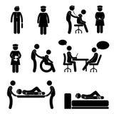 Ikonen-Zeichen-Symbol-Piktogramm Doktor-Nurse Hospital Medical Psychiatrist geduldiges krankes Lizenzfreie Stockfotografie