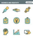 Ikonen zeichnen gesetzte erstklassige Qualität des kreativen Prozesses der wirtschaftlichen Entwicklung, des modernen Büroarbeits Stockfotos
