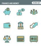 Ikonen zeichnen gesetzte erstklassige Qualität von Finanzgegenständen und von Bankwesenelementen, Finanzeinzelteilgeldsymbol Mode Lizenzfreie Stockfotos