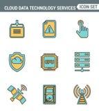 Ikonen zeichnen gesetzte erstklassige Qualität von Wolkendatentechnologiedienstleistungen, globale Verbindung Flache Designart de Lizenzfreie Stockfotografie