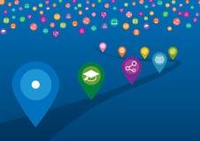 Ikonen-Ziel von Digital-Markt und -hervorragender Leistung auf Zielen Stockfotos