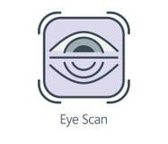 Ikonendesign-Augenscan in der flachen Linie Art Lizenzfreies Stockbild