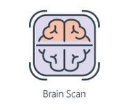 Ikonendesign-Gehirnscan in der flachen Linie Art Stockbild