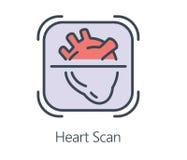 Ikonendesign-Herzscan in der flachen Linie Art Lizenzfreies Stockfoto