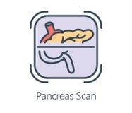 Ikonendesign Pankreasscan in der flachen Linie Art Stockfotos