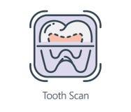 Ikonendesign-Zahnscan in der flachen Linie Art Lizenzfreie Stockfotos