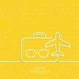 Ikonenflugzeug und -koffer Stockfotos