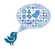 Ikonengruppe als Spracheblasenwolke Lizenzfreies Stockfoto