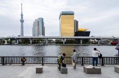 Ikonenhafte Gebäude, wie von Sumida-Park gesehen stockbilder