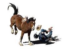 Ikonenhaftes clipart eines str?ubenden Pferde- und Rodeocowboys lizenzfreie abbildung
