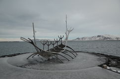 Ikonenhaftes Wikinger Schiff Reykjaviks Lizenzfreies Stockbild