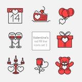 Ikonenillustrationen set1 red_fill Linie des Valentinsgrußes Lizenzfreie Stockbilder