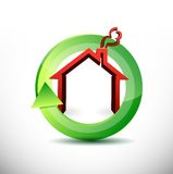 Ikonenillustrationsentwurf der Immobilien in Bewegung Stockfoto
