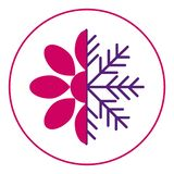 Ikonenjahreszeiten Fr?hling und Winter Halbe Blume und Hälfteschneeflocke Schnee im Fr?hjahr vektor abbildung