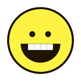 Ikonenlächeln smileygelb auf einem weißen Hintergrund stockfotos