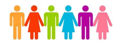 Ikonenleuteunterschied Mehrfarbige Formen von Männern und von Frauen Vektorabbildung auf wei?em Hintergrund vektor abbildung