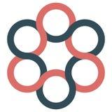 Ikonenlogospinner, verschachtelnde Streifen der gekrümmten Linien, Vektorlogo von Kreisen stock abbildung