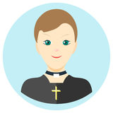 Ikonenmannpriester in einer flachen Art Vektorbild auf einem Runde farbigen Hintergrund Element des Designs, Schnittstelle Bild i Lizenzfreie Stockbilder