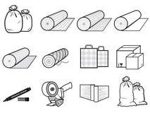 Ikonenpakete von Waren: Tasche, Kästen Stockfotos