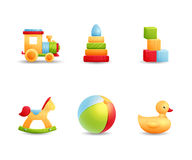 Ikonensammlung der ersten Spielwaren des Babys realistische Lizenzfreie Stockbilder