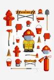 Ikonensatz der bunten Weinlese des Vektors flacher Illustration für infographic Emblem des Feuerwehrmanns Equipment und freiwilli Lizenzfreie Stockfotos